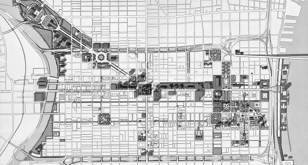 """The Site Plan,"" illustration from the Philadelphia City Planning Commission, 1963."
